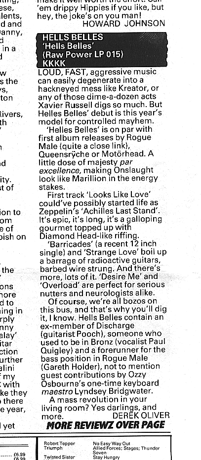Kerrang review by Derek Oliver of Hell's Belles' first LP in 1986