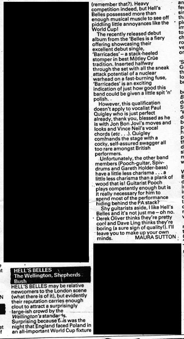 Review by Kerrang's Maura Sutton of Hell's Belles live gig at London's Shepherd's Bush Wellington in June 1986