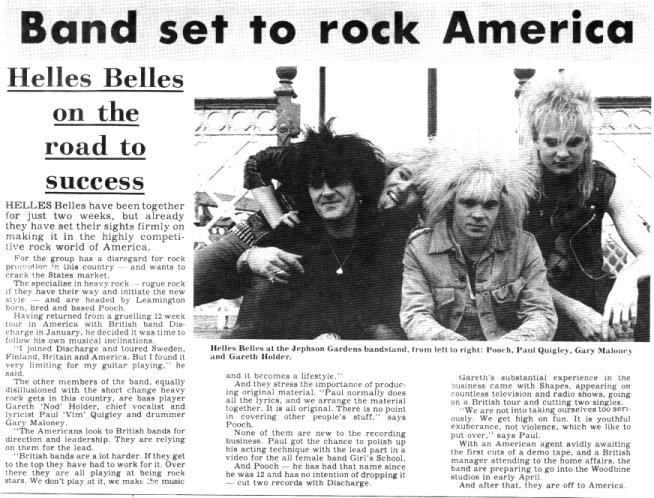 HellsBelles at Jephson Gardens, Leamington, England, April 1984